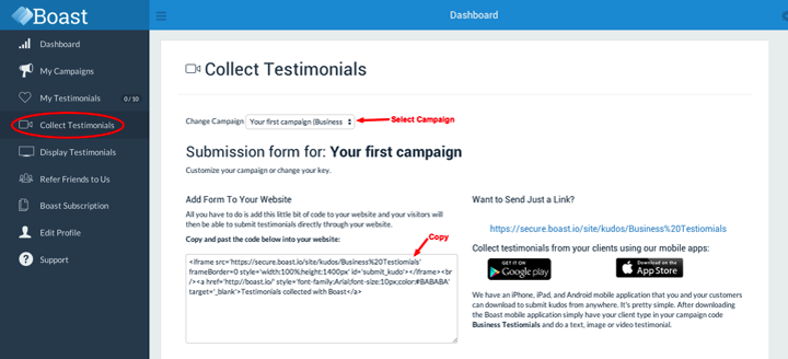 How to Update Your Website Embed Form | Boast Testimonials