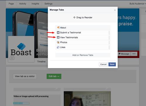 rearrange facebook tabs
