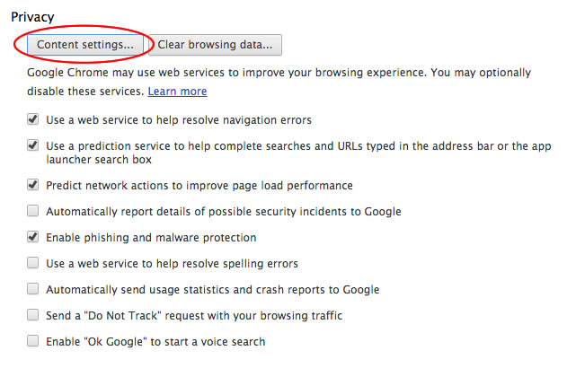 Access Google Chrome content settings