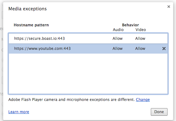 Removing media exceptions in Google Chrome