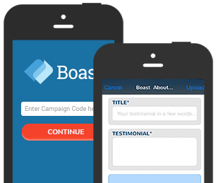 Collect testimonials with Boast mobile apps