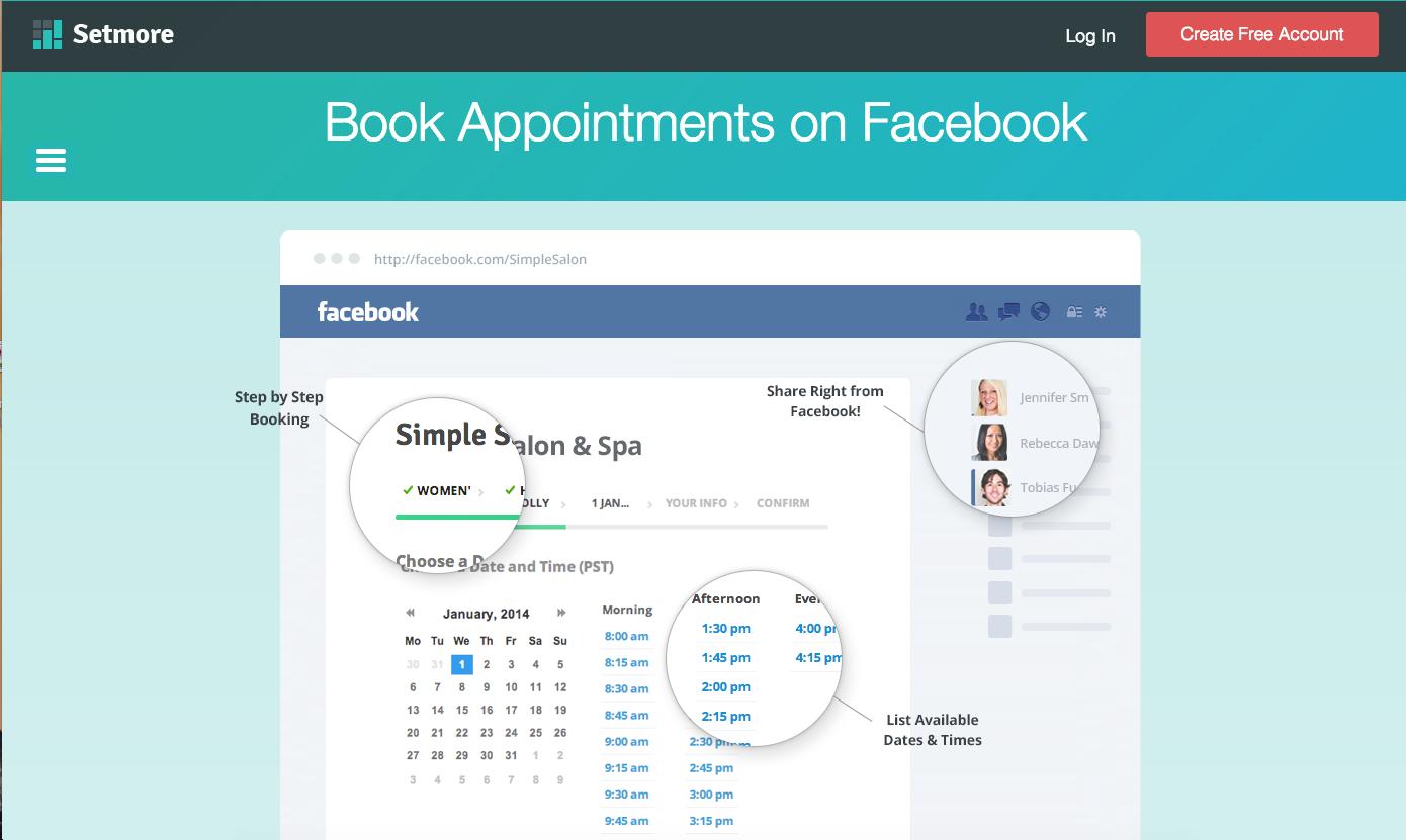 Setmore Facebook scheduling tool