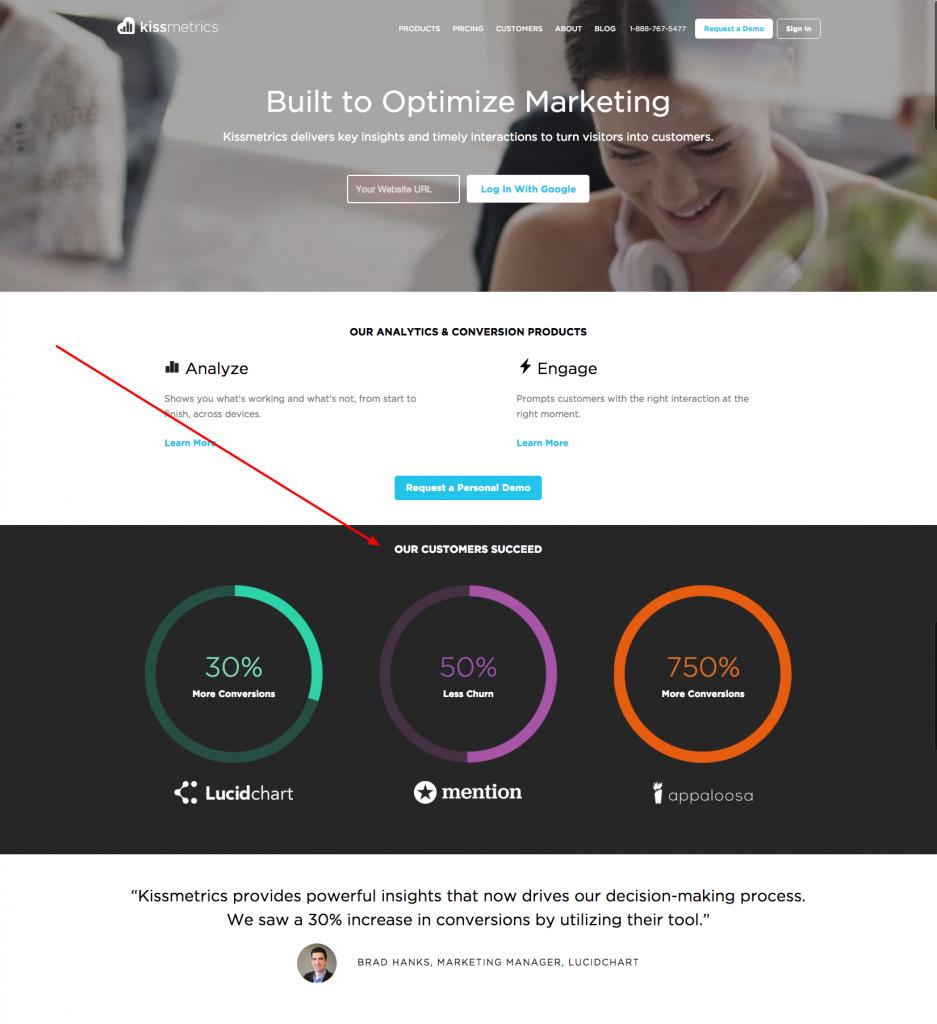 Kissmetrics Homepage Social Proof