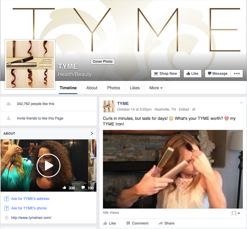 TYME Facebook Video testimonial