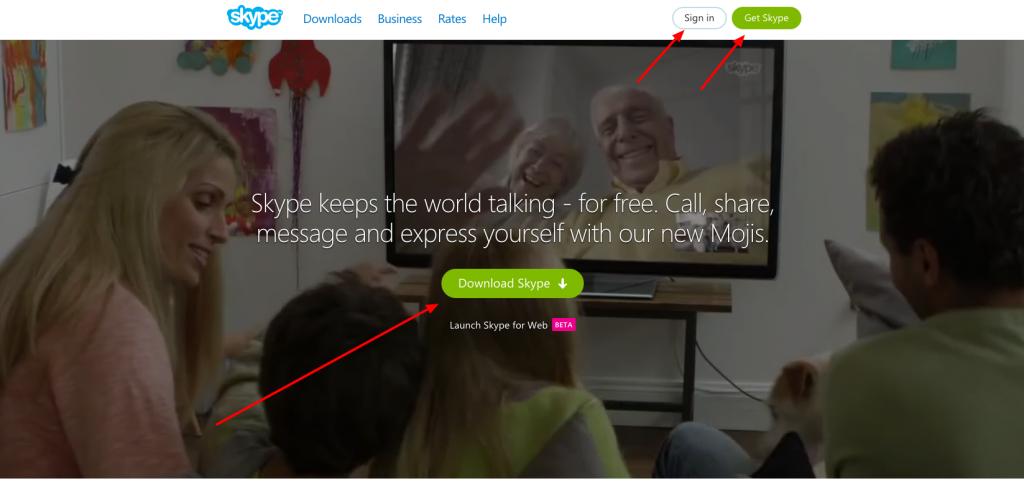 Skype Homepage Navigation