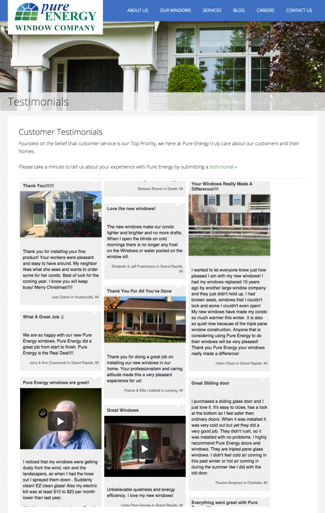 Testimonials for Pure Energy Window Company