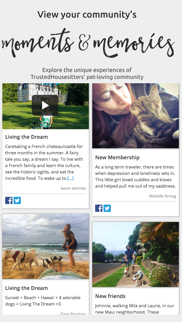 Trusted Housesitters Moments and Memories Campaign Boast Display Widget
