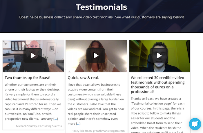 display and collect testimonials with boast