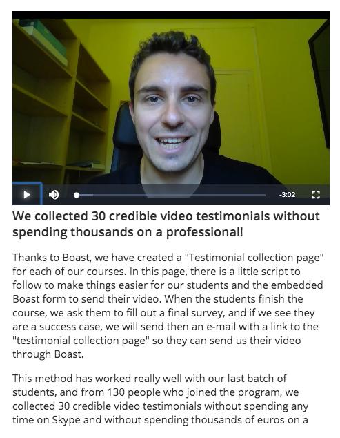 video testimonials case study