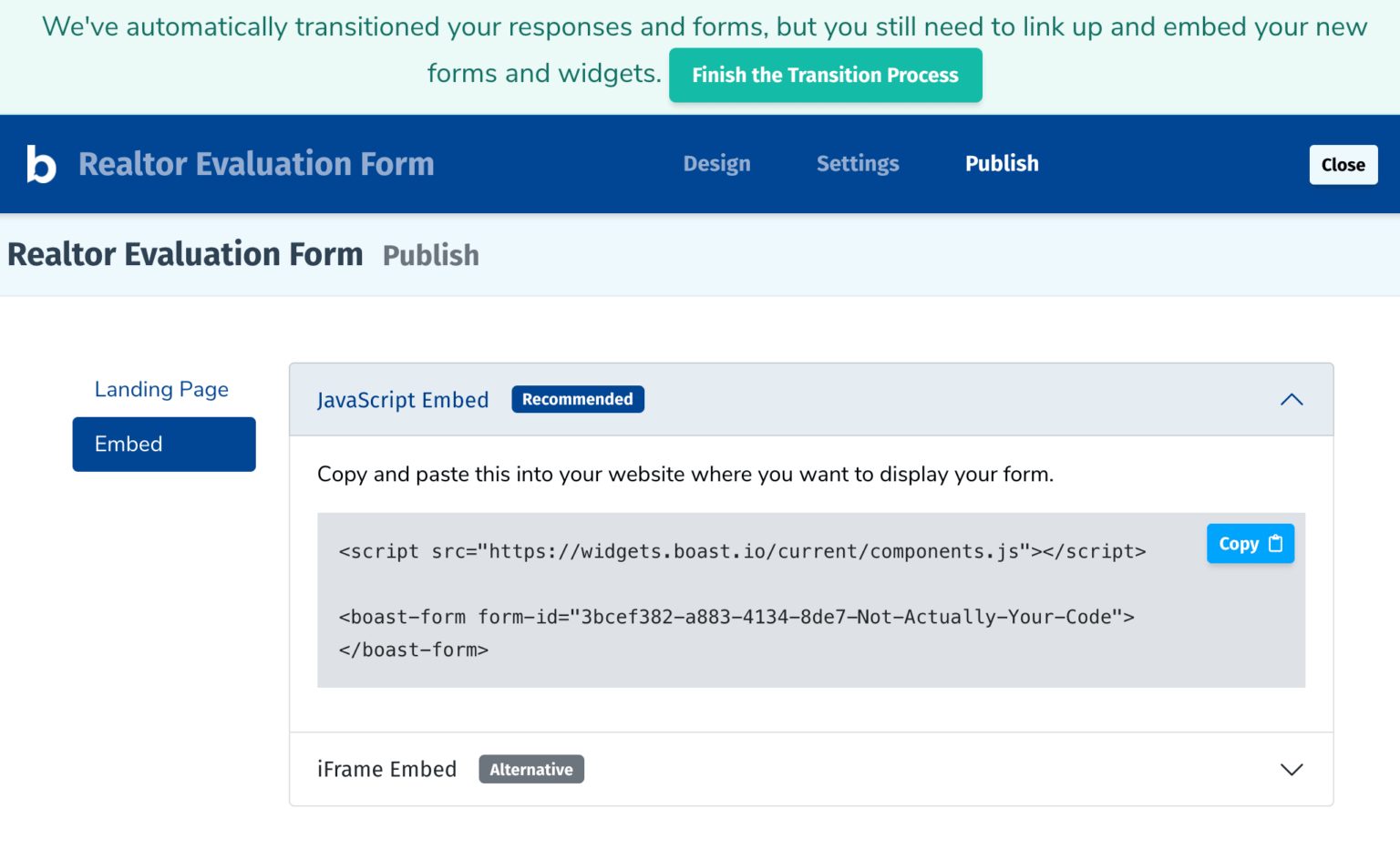website form embed codes