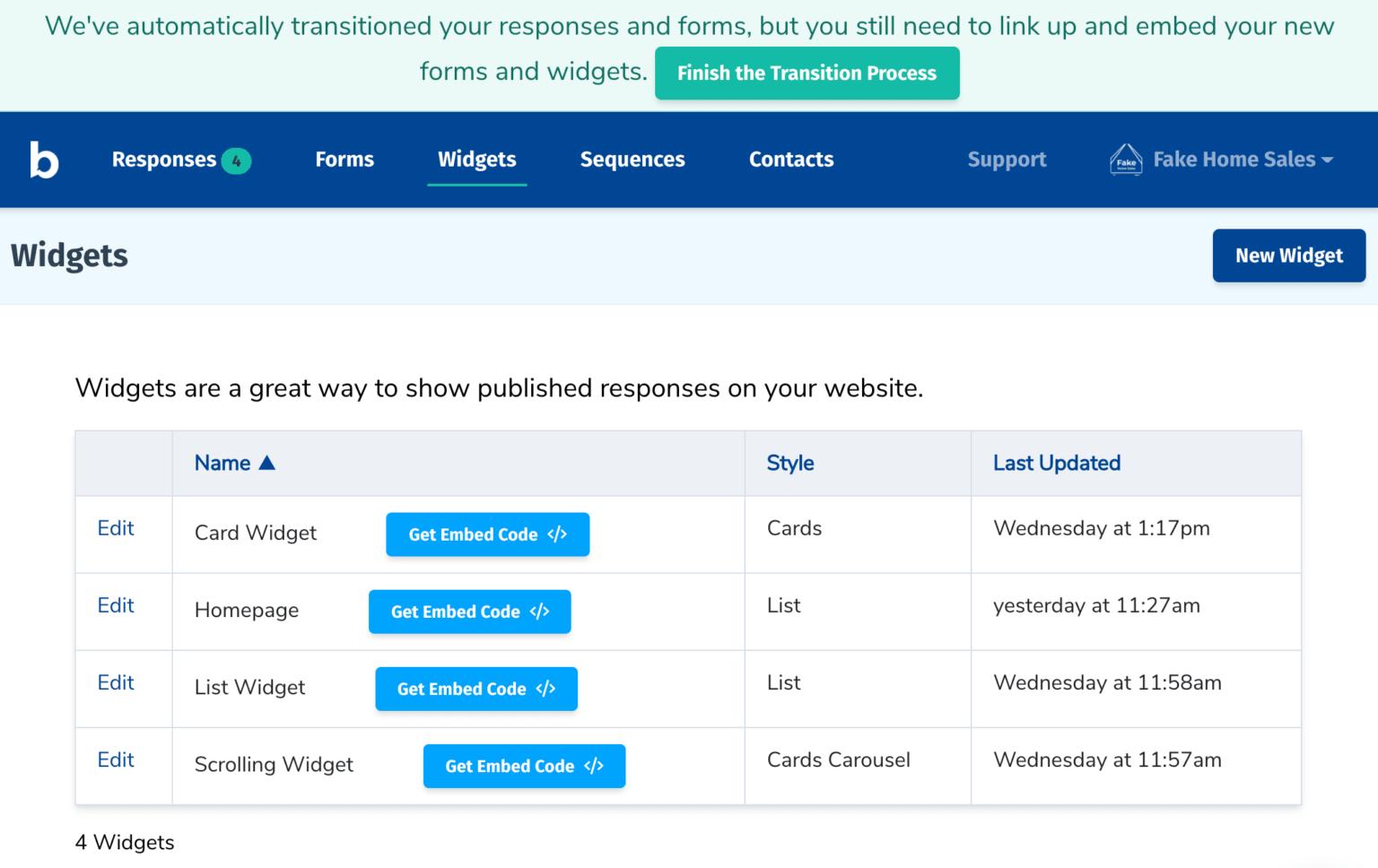 screenshot of widgets listing page
